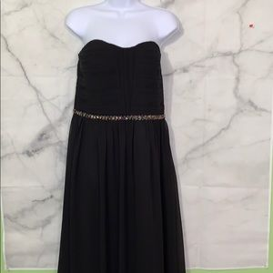 GB long black strapless gown